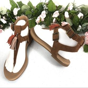UGG triple tassels tan leather sandals size 6.5